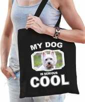 West terrier honden tasje zwart volwassenen en kinderen my dog serious is cool kado boodschappenta