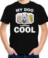 Witte herder honden t shirt my dog is serious cool zwart voor kinderen