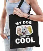 Witte herder honden tasje zwart volwassenen en kinderen my dog serious is cool kado boodschappenta