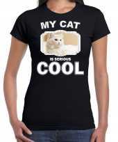 Witte kat katten poezen t shirt my cat is serious cool zwart voor dames