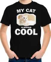 Witte kat katten poezen t shirt my cat is serious cool zwart voor kinderen