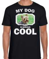 Yorkshire terrier honden t shirt my dog is serious cool zwart voor heren