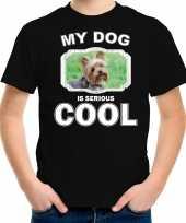 Yorkshire terrier honden t shirt my dog is serious cool zwart voor kinderen